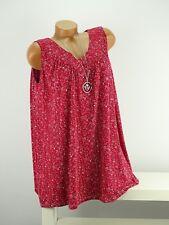 Shirt + Kette Top Tunika Lagenlook Größe 46 - 52 one size rot bunt geblümt w
