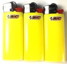 3 Yellow Mini Bic Lighters - Small Size Solid Yellow Color Made in France