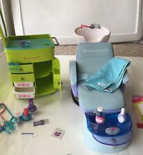 American Girl Spa Chair And Salon Hair Caddy Cart With Accessories