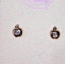 Baby Earrings    14k and Cubic Zirconia Yellow Gold  Apple Disney