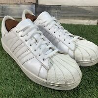 UK11 Adidas Superstar 2 Triple White Retro Style Trainers - G17609 - EU46