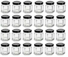 Nakpunar 24 pcs 1.5 oz Mini Hexagon Glass Jars with Black Plastisol Lined Lids