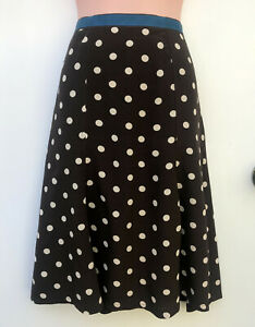 BODEN Brown Spot Skirt Flared Panel Style with Ribbon Waistline sz 12R