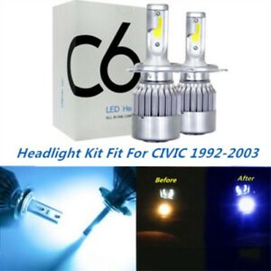 LED Headlight Kit H4 9003 8000K Ice Blue Hi/Low Bulbs for HONDA CIVIC 1992-2003