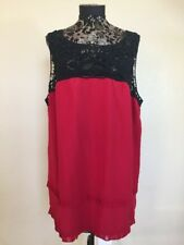 Studio M Plus Size 3X Top Red Silk Black Embroidered Sleeveless Tiered Women's