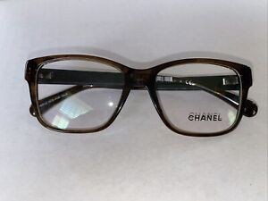 Chanel Eyeglasses Brown with black leather arms 3310–Q 1569 52 16 140 No case