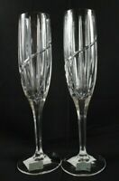 "Vintage Mikasa Glassware Uptown Two Fluted Champagne Glasses 9 3/8"" New/Unused"