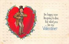 Brundage Valentine~Man in Top Hat Inside Heart~Happy to Dine~Card in Pocket~V-52