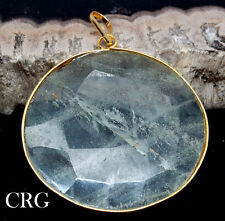 Gold Plated Faceted Round Clear Quartz Pendant (FC46DG)