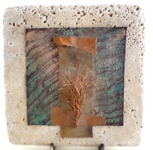 Roxane Riva Signed Abstract Mixed Media Metal Copper Collage on Pottery Tile VTG