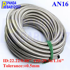 STAINLESS STEEL BRAIDED FUEL HOSE AN16 AN-16 16AN -16 RADIATOR OIL LINE SL 1FOOT