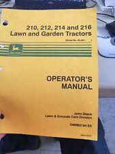 John Deere 210, 212, 214, and 216 Lawn and Garden Tractors Operators Manual