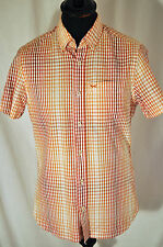 Vintage orange check button down collar short sleeve shirt in size small western