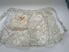 vintage handmade half apron organdy fabric with  gold design rickrack trim