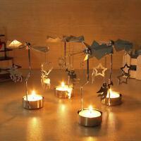 Xmas Rotary Spinning Tealight Candle Metal Tea light Holder Carousel Home Decor