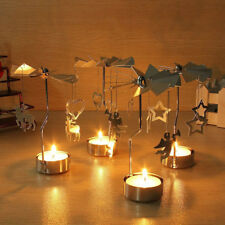 Xmas Rotary Spinning Tealight Candle Metal Tea light Holder Carousel Home Decor