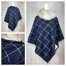 Handmade Blue check tweed Cape Poncho