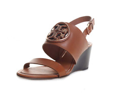 Tory Burch NEW Metal Miller 65MM Wedge Tan Leather MANY SIZES $298 Brazil AUTH