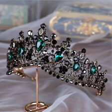 Black Green Drip Crystal 7cm High Adult Wedding Party Pageant Prom Tiara Crown
