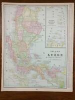 "Vintage 1903 LUZON PHILIPPINES Map 11""x14"" ~ Old Antique Original QUEZON CITY"