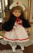 """BEAUTIFUL NURSE DOLL WITH BUNNY 24"""" TALL PORCELAIN AND CLOTH"""
