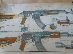 "RARE BULGARIAN MILITARY POSTER- AK-47 ""KALASHNIKOV"""