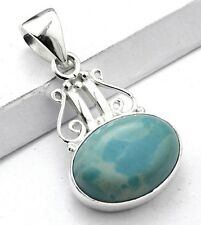 CARIBBEAN LARIMAR STONE 925 STERLING SILVER DROP NECKLACE PENDANT Length 1 1/2""
