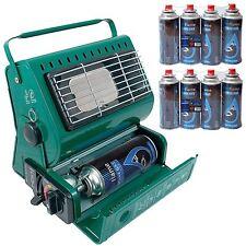 Portable Outdoor Camping Fishing Caravan Garden Butane Gas Heater + 8 Refills