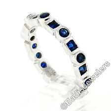 18k White Gold 1.32ctw Round & Square Milgrain Bezel Sapphire Eternity Band Ring