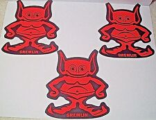 AM AMC AMERICAN MOTORS THREE (3) NOS 1970 CHICAGO AUTO SHOW RED GREMLIN STICKERS