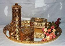 Vintage Gold Filigree Vanity Set Mirror Tray Perfume Trinket Powder Cover