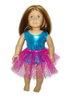 "Teal Leotard Hot Pink Tutu fits American Girl 18"" Doll Clothes Ballet Dance"