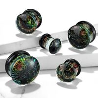 """PAIR - SPARKLE GALAXY DOUBLE FLARED GLASS PLUGS EAR GAUGES (0G-5/8"""")"""