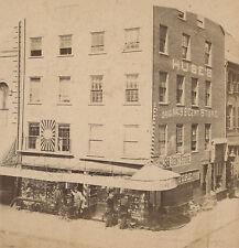 "ANTIQUE BOSTON HANOVER ST ""NORTH END"" 1872 IWAKURA MEIJI JAPAN STEREOVIEW PHOTO"