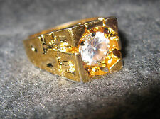 18k Heavy Electroplated Gold Men's Nuggut Ring Sz 11.5 with 1 Ct Cubic Zarconia