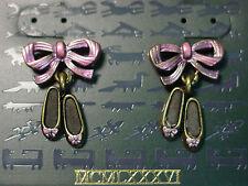 """""""JJ"""" Jonette Jewelry Bronze Pewter 'BALLET Slippers Pink Bow' Pierced Earrings"""