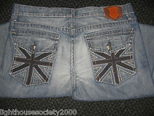 Monarchy Mens Jeans Collection Overdye Navy British Flag Punk Rock Gothic NWOT!