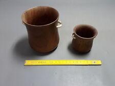 Lotto di 2 antichi piccoli vasi in legno esotici tipo bicchieri old occhiali