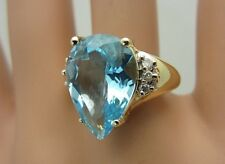 14K Yellow Gold Blue Topaz and Diamond Ring 8.59 CT
