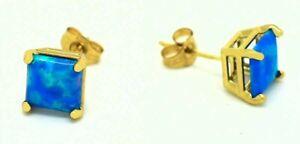 GENUINE 0.94 Cts BLUE OPAL STUD EARRINGS 14k GOLD * Free Appraisal Service