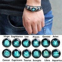 12 Constellation Hand Woven Braided Leather Retro Zodiac Sign Charms Bracelet MW