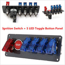 Racing Car 12V Ignition Switch Panel Engine Start LED Push Button Toggle Panel
