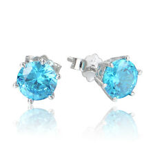VIBRANT TURQUOISE CZ 8mm .925 STERLING SILVER STUD POST EARRINGS