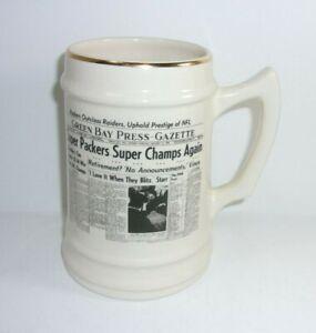 Green Bay Press Gazette Packers Super Bowl Champs Jan 14 1968 vintage Mug   T*