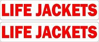 Set of 2 sticker decal vinyl car boat life jackets safety