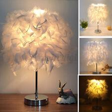 Feather Shade Table Lamp Vintage Elegant Desk Bedside Night Light Romantic Gift