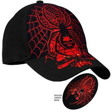 Black Widow Web and Skull Original Design Biker Cap Snap back Hat  #1014