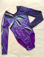 GK ELITE Gymnastics LEOTARD Purple COMPETITION Leo SWAROVSKI Rhinestone CL