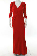 Badgley Mischka Red Gathered Half Sleeve Layla Gown Size 10 New $695 10275507
