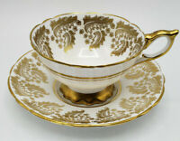 Royal Stafford Wide Mouth Heavy Gold Lace Bone China England Tea Cup & Saucer